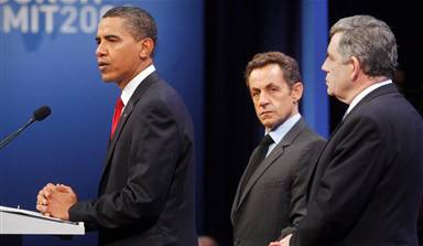 Pres. Obama Speaking (Naturally), French Pres. Nicolas Sarkozy and British Prime Minister Gordon Brown at the G20 Summit